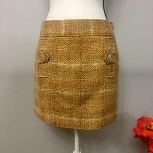 Banana Republic mustard plaid twill mini skirt